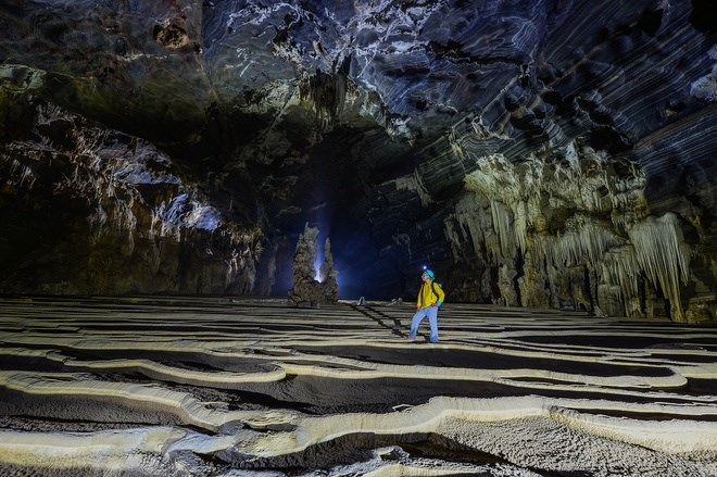 "Floors look like terrace fields inside the cave. When it rains, the ""fields"" will be flooded."