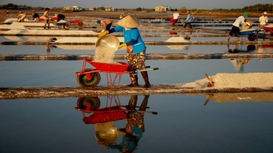 The beauty of labor in Long Dien salt field