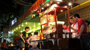 Cheap foreign specialties available on Saigon pavements