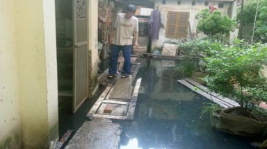 Families forced to live in sewage